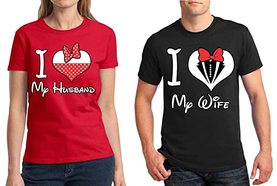 507922fcdf Awkwardstyles Matching Couple Shirt I Love My Husband Wife T-Shirt Red - Black  Men
