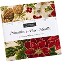 Poinsettias and Pine Metallic Charm Pack by Moda; 42-5 Inch Precut Fabric Quilt Squares