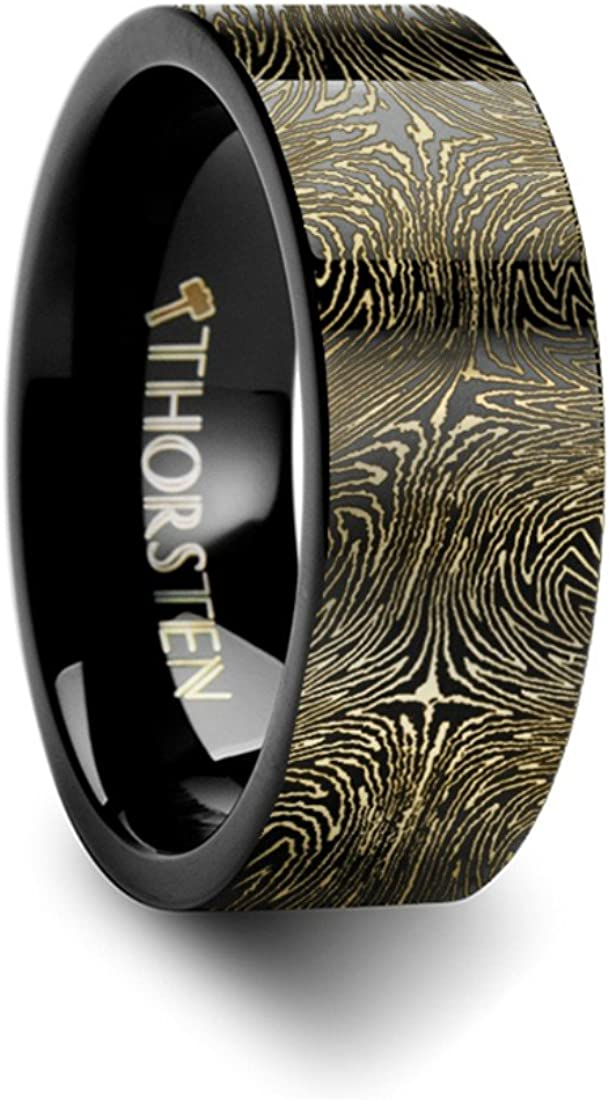 Thorsten Infinity Beveled Edge Black Tungsten Ring 4mm Wide Wedding Band from Roy Rose Jewelry