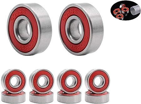 Rodamientos de Skate,608 RS Cojinetes de Patines 8 Pack Doble ...