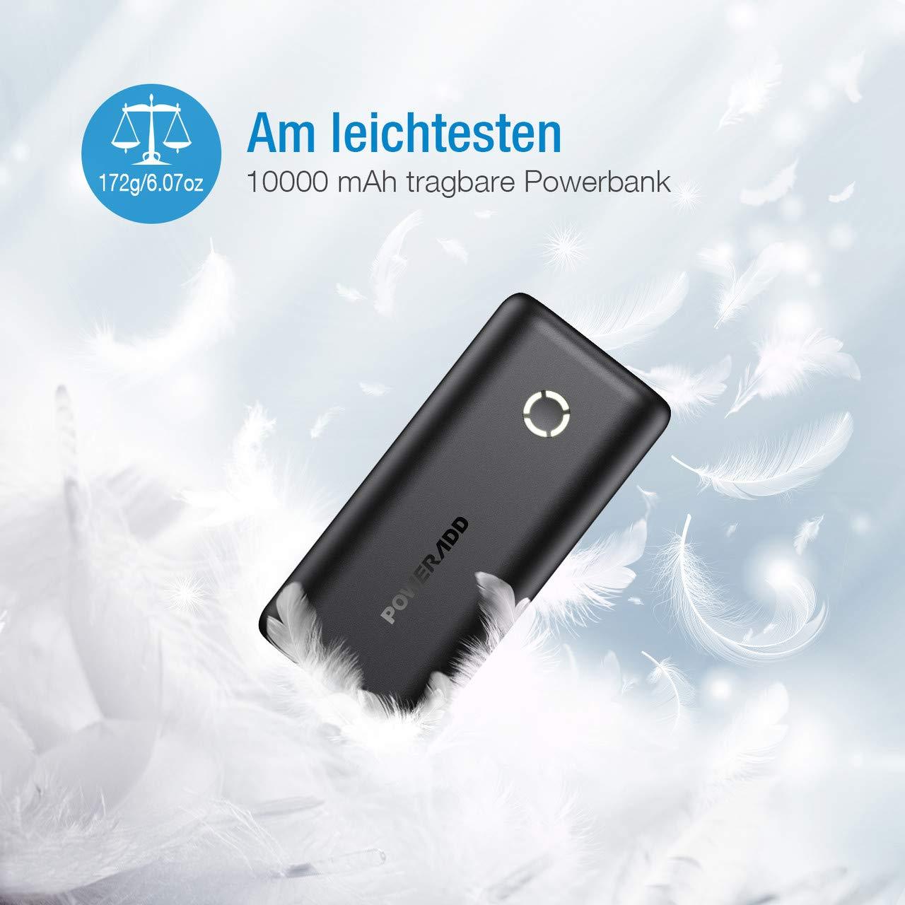POWERADD EnergyCell 10000mah Powerbank kompakter Externer Akku kleine und leichte Power Bank für iPhone X 8 8Plus 7 6s 6Plus, iPad, Samsung Galaxy Huawei und weitere Smartphones