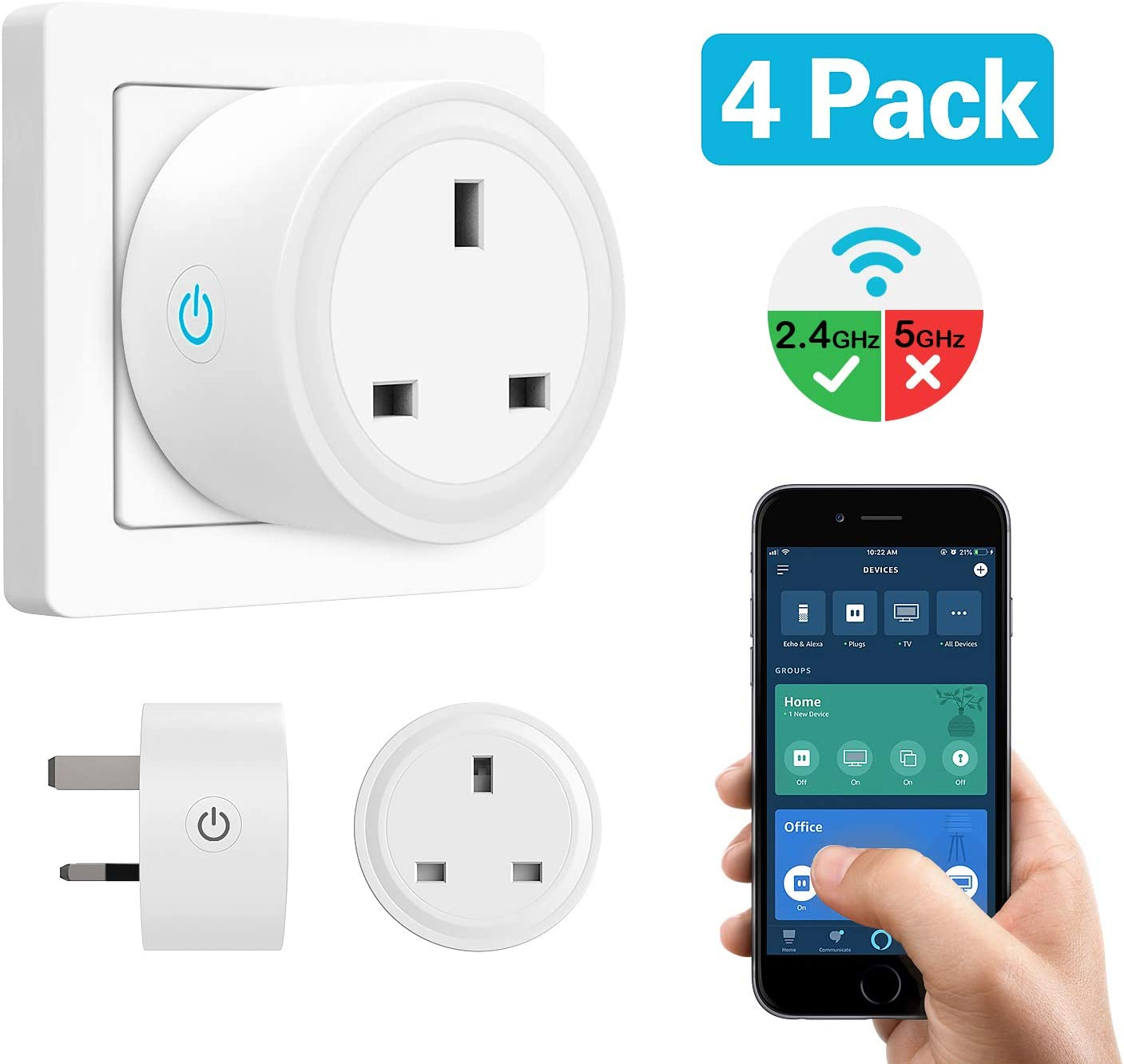MoKo Smart Plug, 4 PACK No Hub WiFi Socket Compatible with Alexa ...