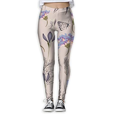 e2af9d9fd94 XIELIAN Beautiful Flower and Butterfly Pants Yoga Workout Fitness Capris  Leggings for Women Girls at Amazon Women s Clothing store