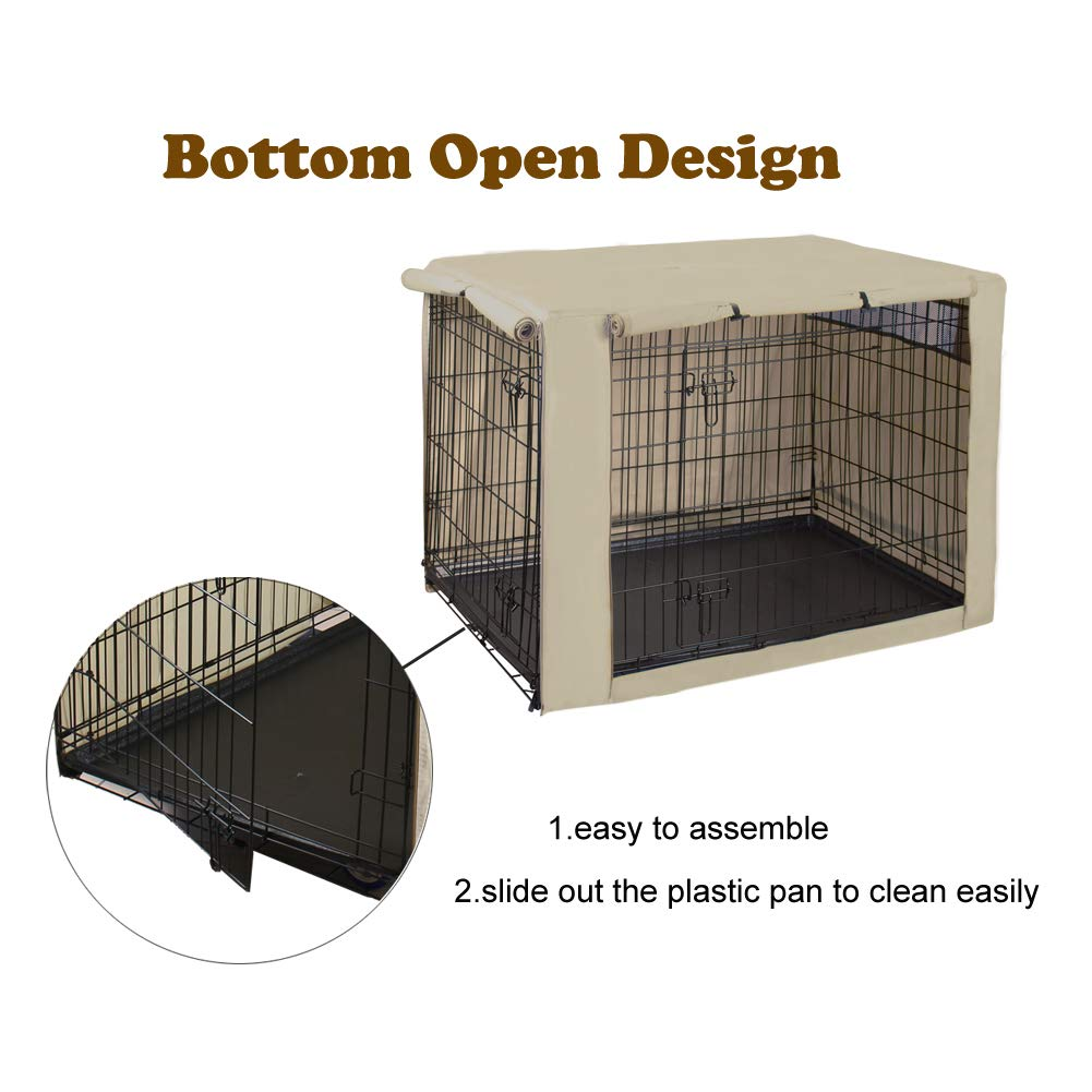 HiCaptain Polyester Dog Crate Cover, Durable Windproof Pet Kennel Cover Provided for Wire Crate Indoor Outdoor Protection (42 Inch, Tan) by HiCaptain (Image #5)