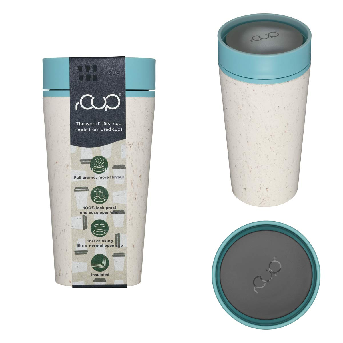 c07d1c8a486 rCup - World's First Reusable Cup Made from Recycled Cups (White - Teal  Blue): Amazon.co.uk: Kitchen & Home