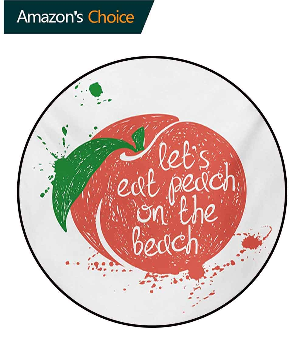 Peach Round Area Rug,Soft Fruit Design with Stem and Leaf Lets Eat Peach On The Beach Quirky Quote Design Non-Slip Fabric Round Rugs for Bedroom,Round-55 Inch Green Coral White