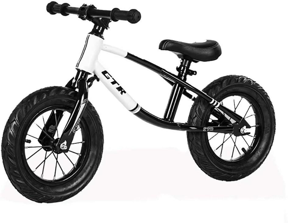 Bicicleta de equilibrio para niños de 12 pulgadas sin pie deslizante bicicleta bebé scooter de carreras de dos ruedas (negro)