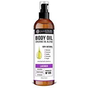 pureSCRUBS Ultra Moisturizing LAVENDER BODY OIL Spray For Dry Skin, Massage, Cuticles & More, Organic Blend of Jojoba, Argan, Coconut, Sweet Almond & Avocado Oils Enriched with Vitamin E - Lg 4oz