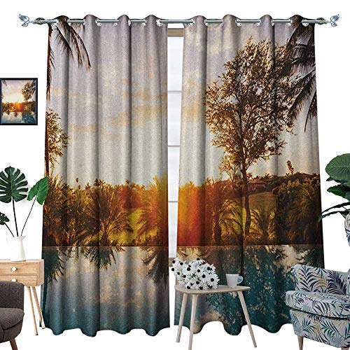 (Warm Family Hawaiian Thermal Insulating Blackout Curtain Home with Swimming Pool at Sunset Tropics Palms Private Villa Resort Scenic View Patterned Drape for Glass Door W120 x L96 Orange Teal)