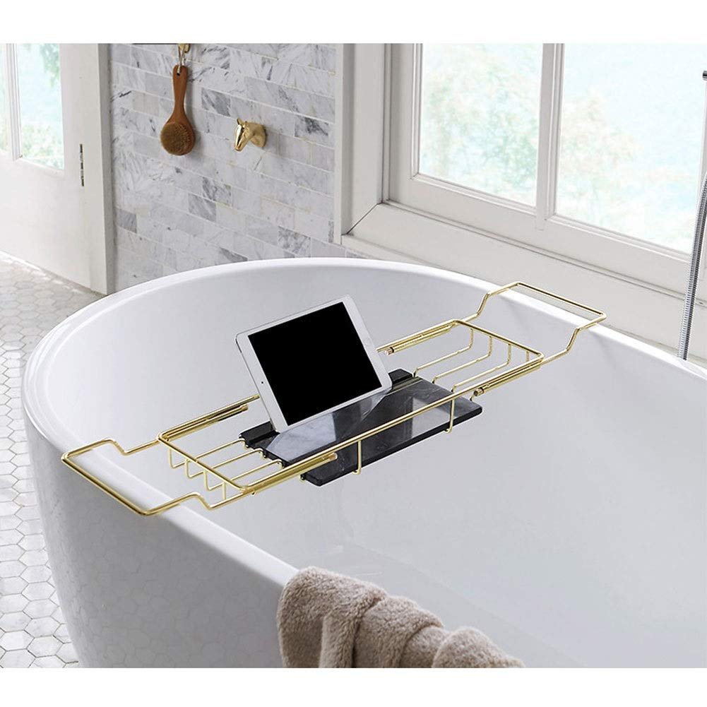 Barture Bathtub Caddy Tray Stainless Steel Over Bath Tub Racks Anti-Rust Bath Tray with Extending Sides Wine Glass Holders and Book Holder Set