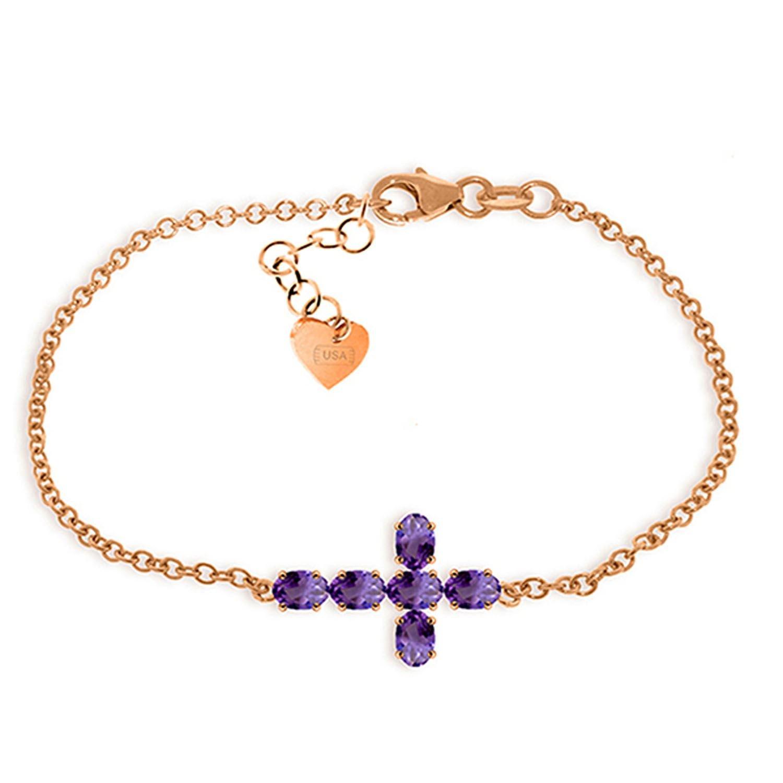 ALARRI 1.7 Carat 14K Solid Rose Gold Cross Bracelet Natural Amethyst Size 8.5 Inch Length