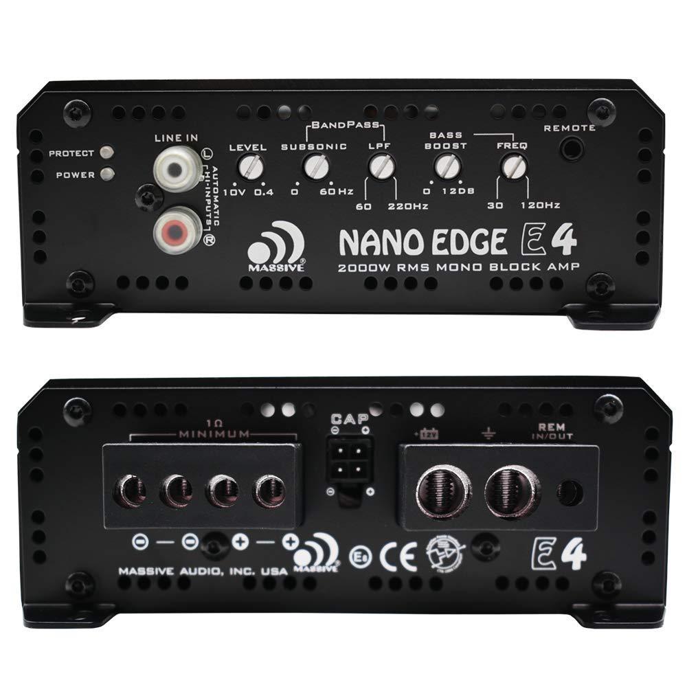 Massive Audio E3 Car Audio 2,800 Watt Nano Edge Series 1 Ohm Stable Monoblock Car Amplifier Bass Boost