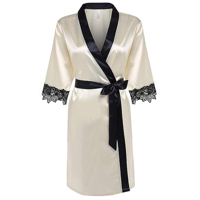 Pragmaticv Mujeres Kimono Robe Longitud de la Rodilla Albornoz Ropa Interior Ropa de Dormir Satén Corto Encaje Ropa de Dormir Damas de Honor Batas XS-XL: ...