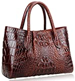 Pijushi Women Embossed Crocodile Bag Designer Top Handle Handbags Holiday Gift 5002A (One Size, 5002A Brown)