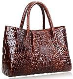 PIJUSHI Women Handbags Crocodile Top Handle Bag Designer Satchel Bags For Women (5002A, Brown)