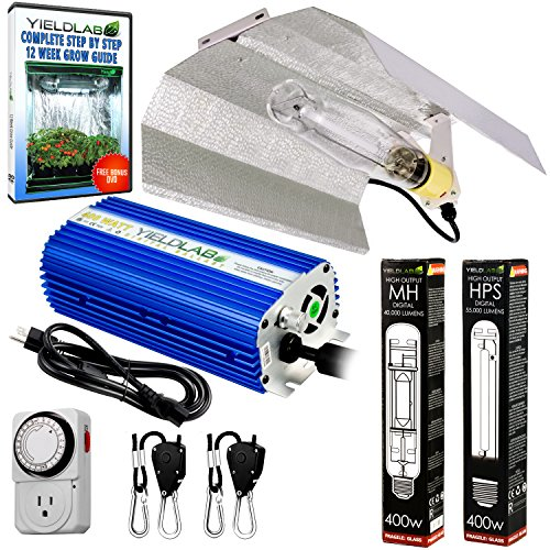 Yield Lab Horticulture 400w HPS MH Grow Light Wing Reflector Kit Easy Setup Full Spectrum System For Indoor Plants And Hydroponics – Free Timer and 12 Week Grow Guide DVD Dvd Lab Kit