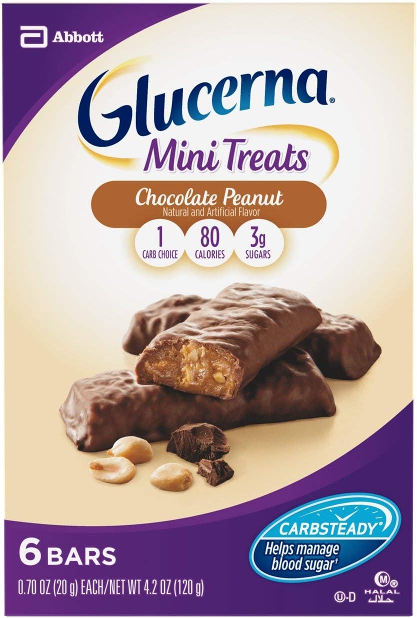 Glucerna Mini Treat Bars, To Help Manage Blood Sugar, Chocolate Peanut, 0.70 oz, 36 count
