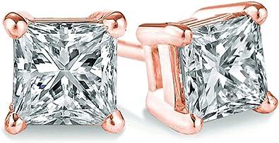 0.30ct, I2 clarity Princess cut Diamond Pendant /& Stud Set Popular Quality-Screw Back Yellow Gold