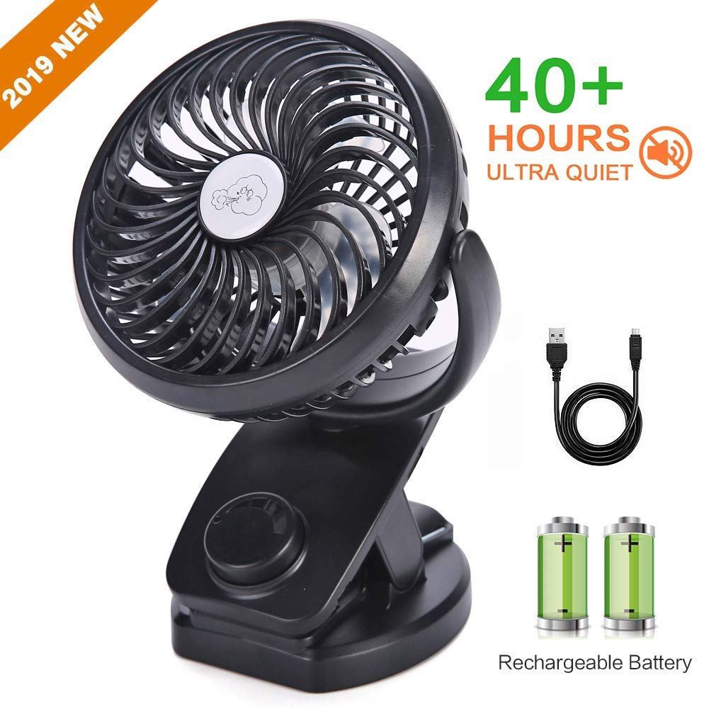 UrChoice Stroller Fans USB Desk Clip Fan,2019 Newest Table Fan 40 Hours Max Working Time 360 Rotation 3600mah Battery 4 Speed Quiet Fan for Outdoor Indoor Baby Car Travel Office Camping Library