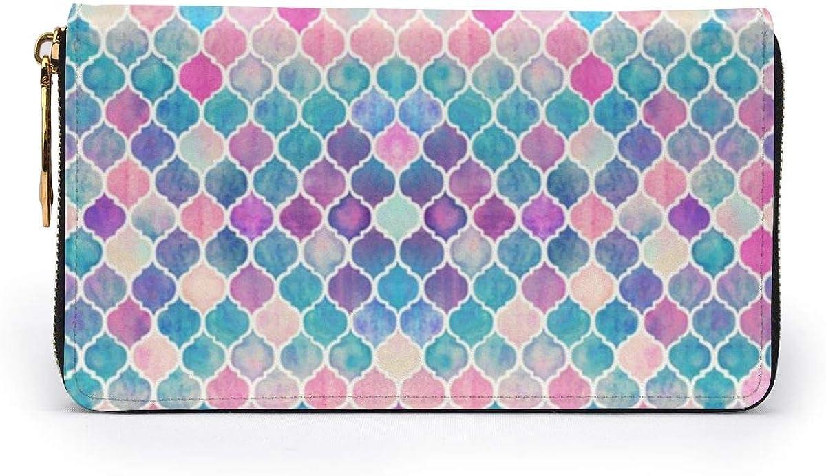 Rainbow Pastel Watercolor Moroccan Pattern Womens RFID Blocking Zip Around Wallet Genuine Leather Clutch Long Card Holder Organizer Wallets Large Travel Purse