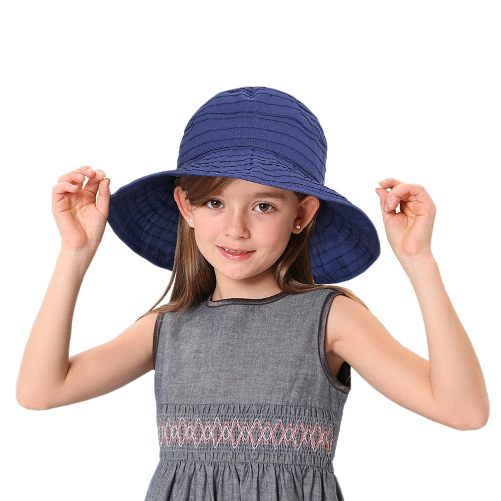 Ifago Sun Hats for Girls Kids, Summer UPF 50+ Wide Brim UV Protection Hat with Ponytail Hole- for Beach, Travel, Park, Pool, Outdoor etc - Foldable - Packable - Adjustable Sun Caps 50-54cm