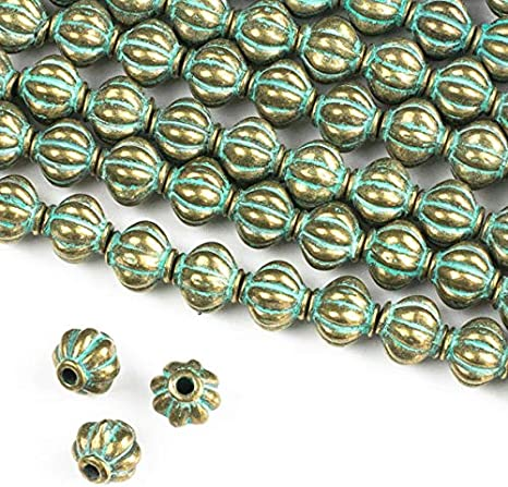 Cherry Blossom Beads Green Bronze Colored Pewter 10mm Bali Style Round Beads 8 inch Strand