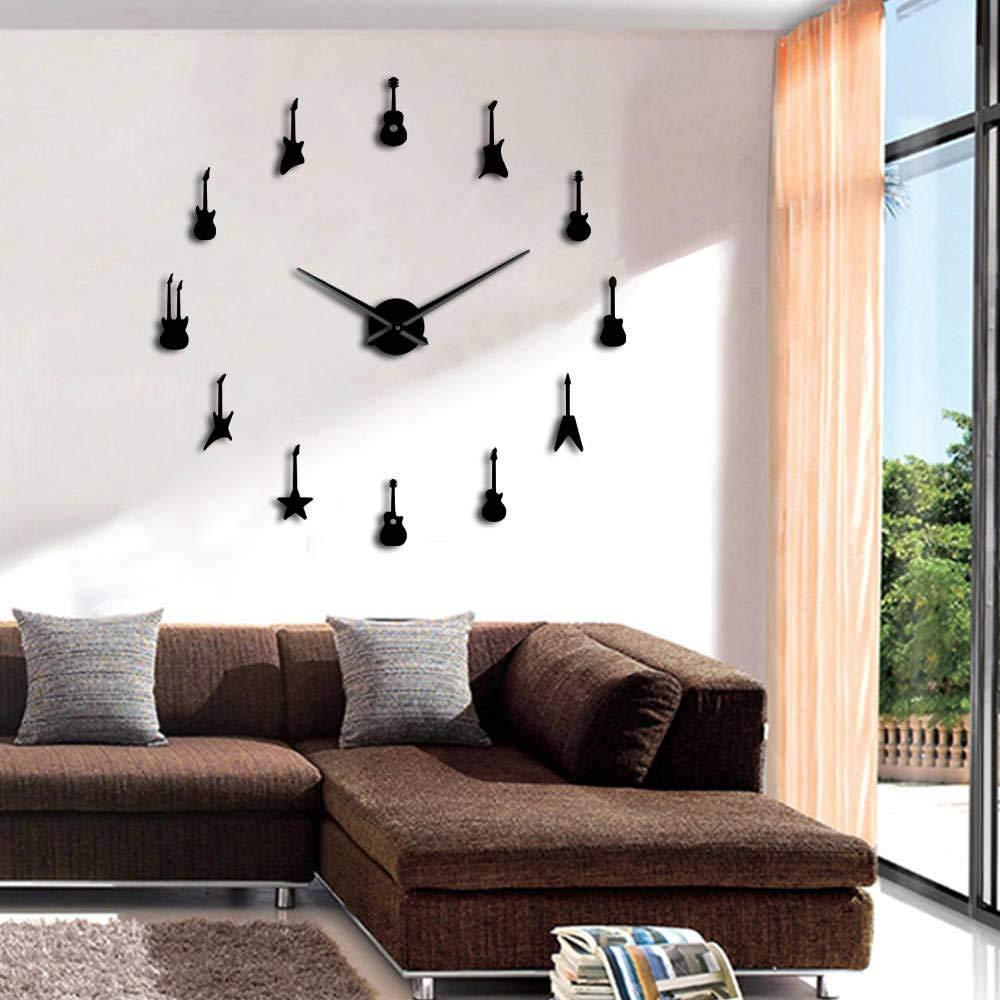 Noir hysxm 47 inch Vari/ét/é De Guitare DIY Grand Balayage Silencieux Horloge Murale Rock N Roll Instrument De Musique sans Cadre Mur Montre G/éante Miroir 3D Sticker Mural