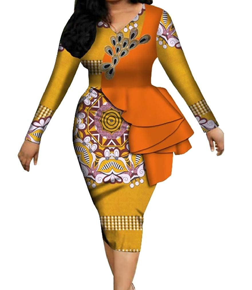 Yellow SpaceAngel Women's Dashiki Cotton Flounced Print Bodysuit Cocktail Party Dress