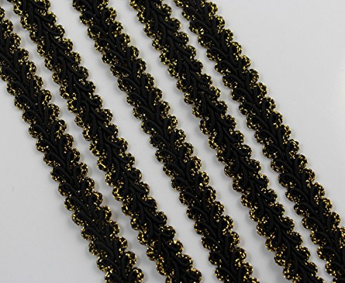 (CHENGYIDA 10 Yards BLACK&GOLD COLOR - Braided GIMP Fabric TRIM Crafting and Sewing projects 3/8