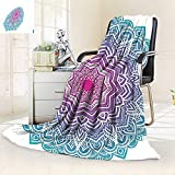 vanfan Super Soft Fleece Throw Blanket Round Floral Starry Pattern Soft Aqua Color Spiritual Meditation Theme Zen Art,Silky Soft,Anti-Static,2 Ply Thick Blanket. (80''x60'')