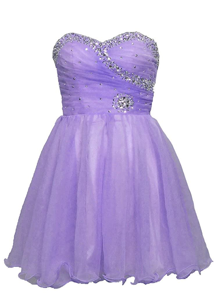 Lavender Vantexi Women's Short Beaded Homecoming Dress Cocktail Party Gowns