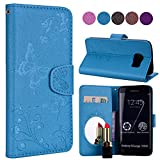 Samsung S6 Edge Case, Ailisi Luxury PU Leather Wallet Flip Case Butterfly Flower Design Magnetic Cover with Built-in Hidden Mirror, Stand Feature, Card Slots Holder for Samsung Galaxy S6 Edge-Blue