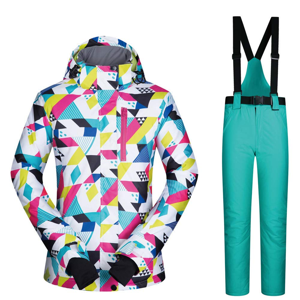 C8 Medium Lisansang Damen Skijacke Der wasserdichte Winddichte Snowboard der Frauen Bunte gedruckte Skijacke und -Hose (Farbe   C7, Größe   S)