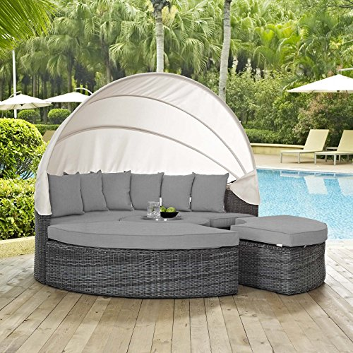 Lexington Daybed - Modway EEI-1997-GRY-GRY Summon Canopy Outdoor Patio Sunbrella Daybed in Canvas Gray