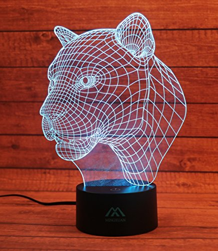 Leopard 3D Night Light 7 Color LED Touch Table Desk Lamps Energy Saving Lights Fashion Creative Home Decoration ()