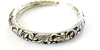 Flowers & Petals Engraved 925 Oxidized Silver HALLMARKED Antique Vintage Style Gypsy Bangle Bracelet for Women FINE Handmade Vintage Tribal Bracelet by TIBETAN SILVER