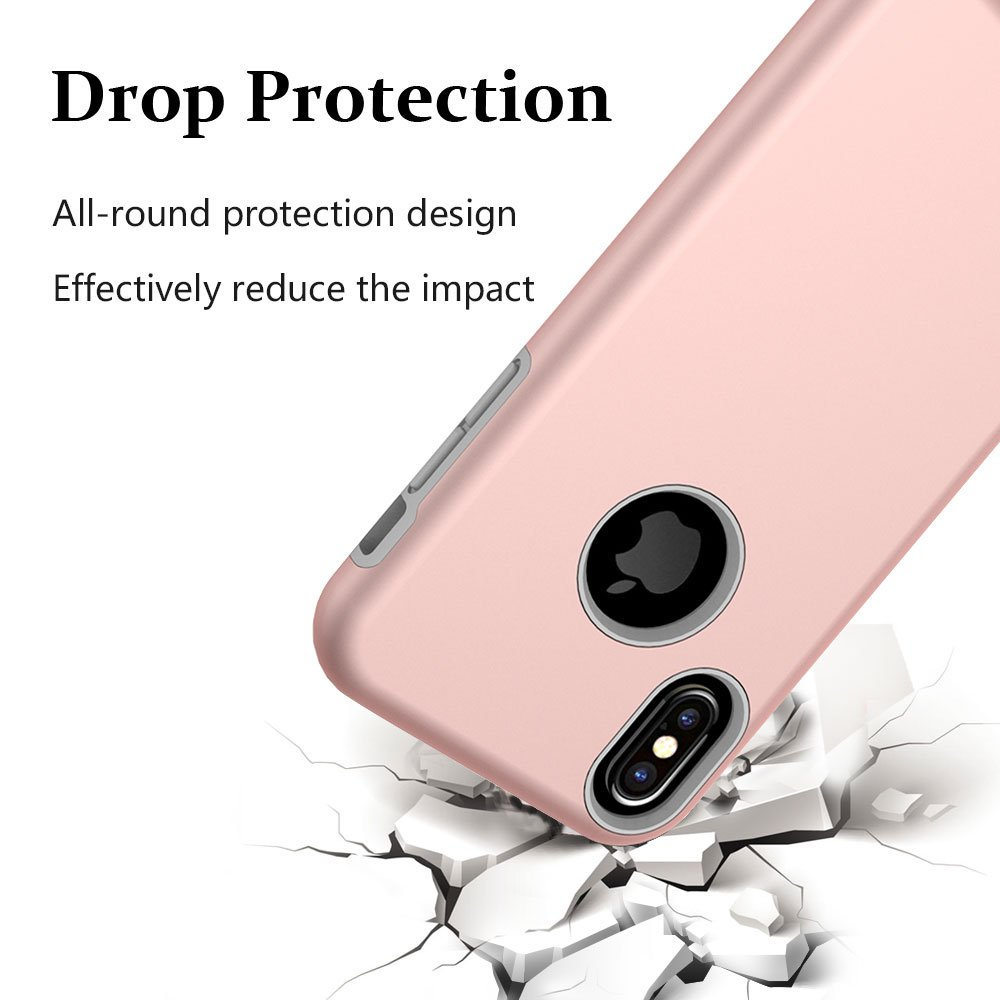 iPhone X Case, MagicSky Slim Corner Protection Shock Absorption Hybrid Dual Layer Armor Defender Protective Case Cover for iPhone X (2017) - Rose Gold