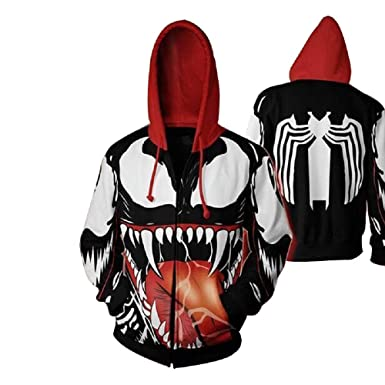 beabf7da Venom 3D Printed Zipper Hoodie Sweatshirt – Available in S M L XL XXL 3XL  4XL 5XL