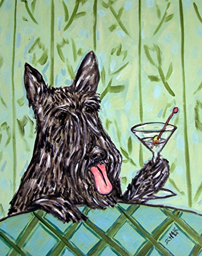 Scottish Terrier at the Martini Bar signed dog art Print