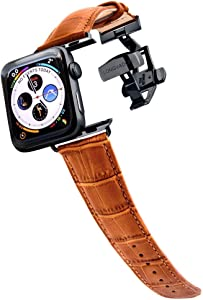 Longvadon Men's Caiman Series Watch Band - Compatible with Apple Watch 42MM (Series 1-3) & 44MM (Series 4-5) - Genuine Top Grain Leather - Whiskey Brown with Black Details - M Size