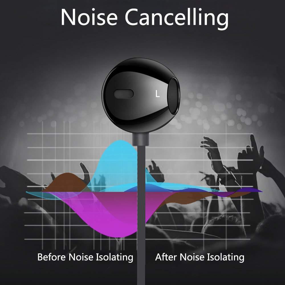Noir /Écouteurs Intra-Auriculaires Haute Qualit/é Audio St/ér/éo Anti-Bruit Ecouteur Filaires in Ear Casque avec Microphone pour iPhone 6 6s Plus 5 Se Samsung Galaxy A5 J3 J5 S9 S8 S7 S6 Edge Huawei