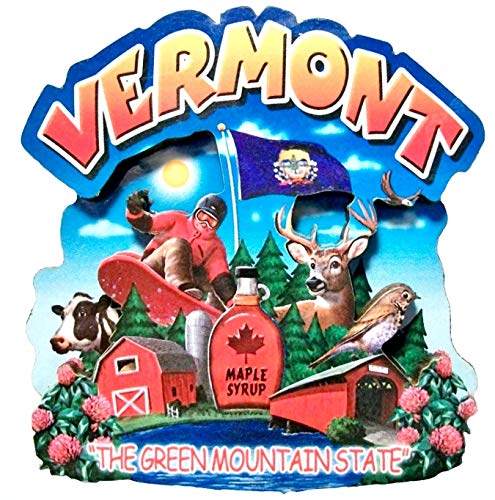 (Vermont the Green Mountain State Artwood Montage Fridge Magnet)