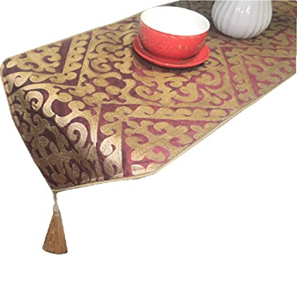 Amazon com: ZJ Wine Red European Embroidered Table Runner