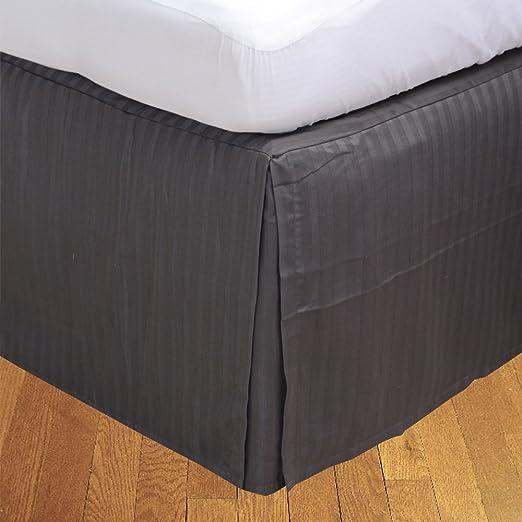 Dreamz Ropa de Cama Hotel Collection 600 Hilos algodón Egipcio satén Acabado Split Esquina One Falda de Cama/Cama (+ 53 cm) Longitud de caída Reino Unido Doble, Elefante Gris diseño de Rayas: