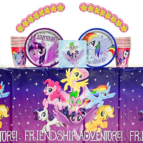 My Little Pony Friendship Adventures Party Supplies Pack for 16 Guests: Stickers, Dessert Plates, Beverage Napkins, Table Cover, and Cups