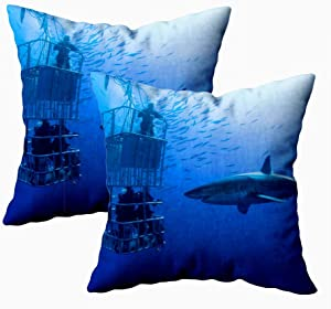 KIOAO Fall Pillow Case, Standard 2Sets 18X18Inch Soft Pillowcase Covers White Shark Cage Great Swims Around The Printed with Both Sides,Christmas Day