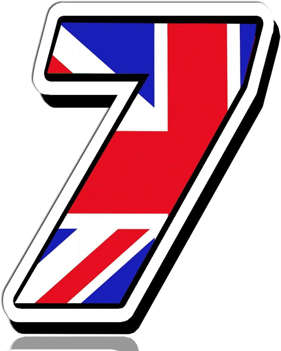 Biomar Labs® Número 7 Bandera de Gran Bretaña Reino Unido UK Calavera Vinilo Adhesivo Pegatina Coche Auto Motocross Moto Sport Start Racing Tuning N 297: Amazon.es: Coche y moto