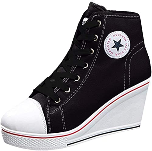 Wedge Heel Trainers Lace-Up Shoes Zip