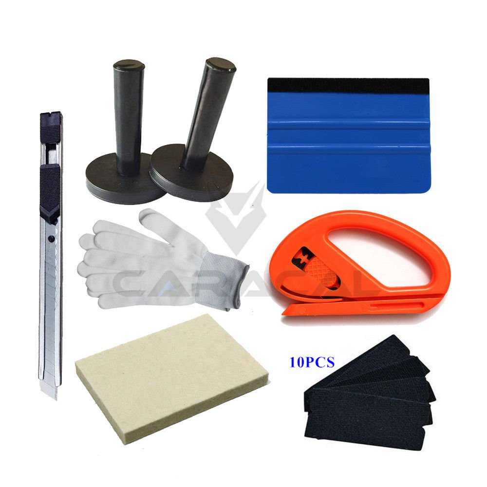 Car Window Tint Wrap Tool Kits: 4'' Squeegee with Felts, Vinyl Film Holder, Paper Cutter, Wool Wiper, Working Gloves