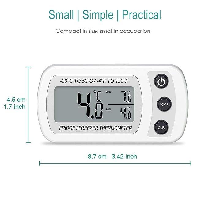 3 Term/ómetro Digital de Refrigerador y Congelador Term/ómetro de Sala de Term/ómetro de Temperatura del Refrigerador a Prueba de Agua con Funci/ón de Registro M/áximo M/ínimo Pantalla LCD Grande
